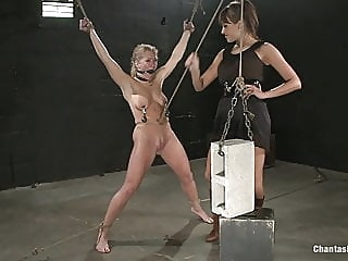 Woman Has Cinder Block Tied To Her Pussy & Dropped lesbian bdsm femdom