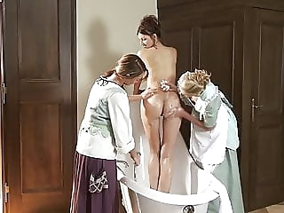 Bathing time for madame anal fingering lesbian