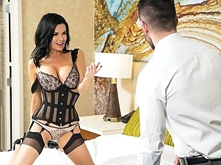 The nurse in lace lingerie undresses in front of a man and shakes boot... big tits lingerie milf