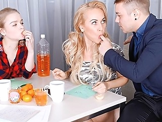 Russian Nicholas suggested kalibri and Busty blonde to do anal in an O... anal big tits blonde