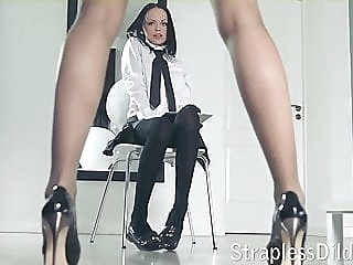A long legged teacher gets feeldoe pounding lesbian stockings strapon
