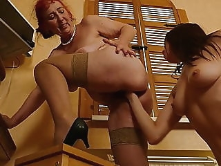 Busty mature gets fisting and sex from daughter blowjob lesbian mature