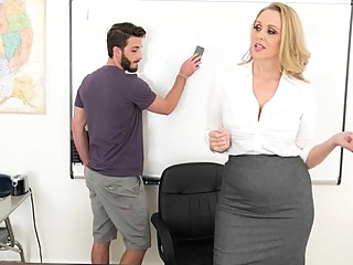 Mature lady in the office seduced a guy into hot fuck... big tits blonde office