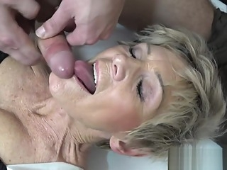 Mature pay for young dick. cumshot cunnilingus granny
