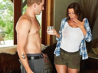 Mommy with hairy pussy has fun on cock young guy... big tits brunette milf