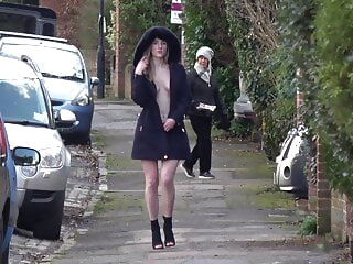 Hot all round Heels and a Hood - British public flashing - Part Two blonde public nudity flashing