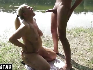 Sultry Milf drinks piss doused blonde blowjob hardcore
